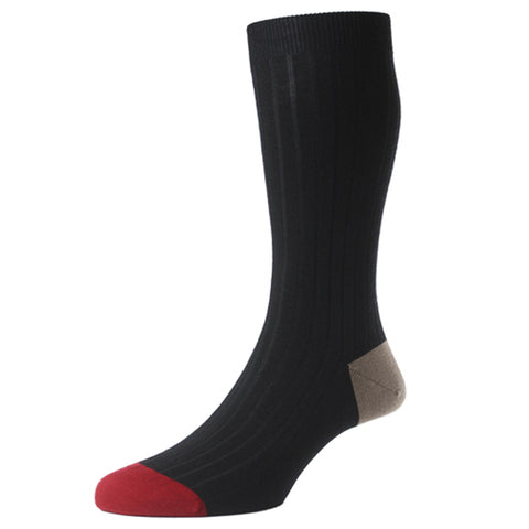 Stratford Black Ribbed Merino Socks