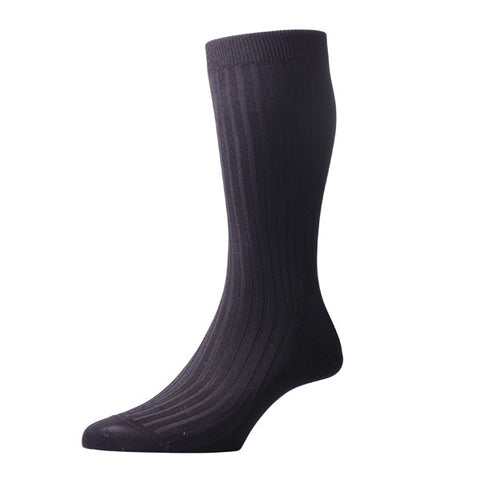 Danvers Black Ribbed Cotton Socks