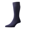 Danvers Navy Ribbed Cotton Socks