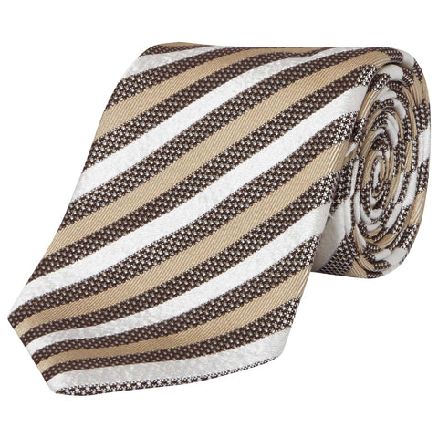 Brown Hopsack and Twill Stripe Silk Tie