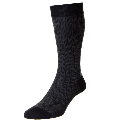 Black Finsbury Herringbone Socks