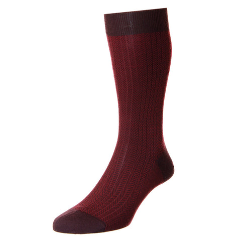 Red Finsbury Herringbone Socks
