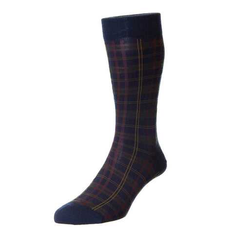 Navy Greenwich Tartan Check Socks