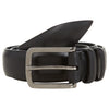 PLAIN BLACK LEATHER BELT WITH SILVER BUCKLE