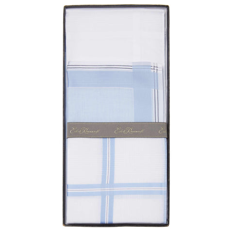 Blue Cotton Mixed Pattern and Plain Boxed Handkerchief Set