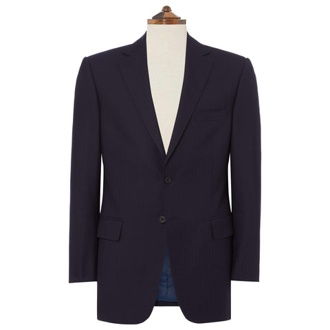 NAVY RICHMOND HERRINGBONE WOOL SUIT
