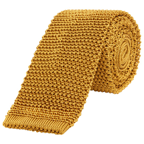 Yellow Knitted Silk Tie
