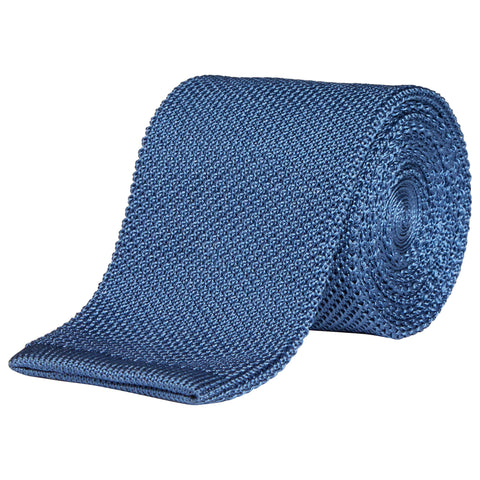 LIGHT BLUE MICRO KNITTED SILK WOVEN TIE