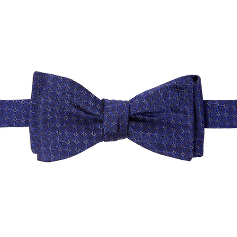 Navy Micro Diamond Silk Bow Tie