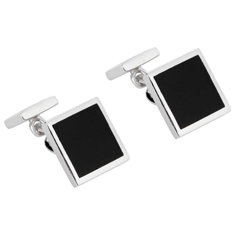 SILVER AND ONYX SQUARE CUFFLINK