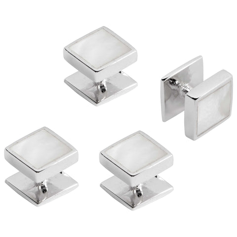 SILVER MOTHER OF PEARL SQUARE STUDS