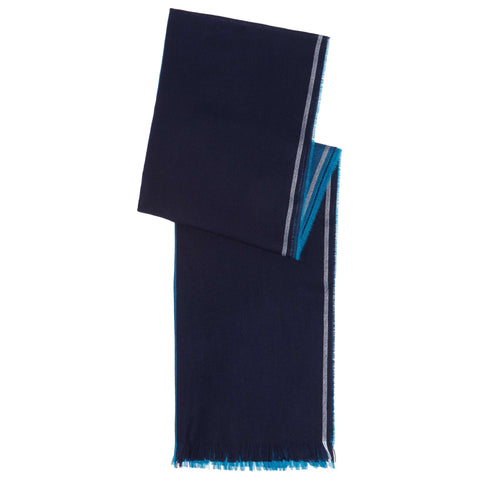 NAVY MERINO WOOL STRIPE SCARF