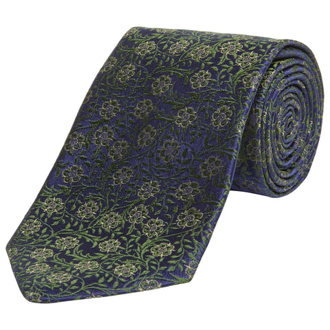 Green Floral Jacquard Silk Tie