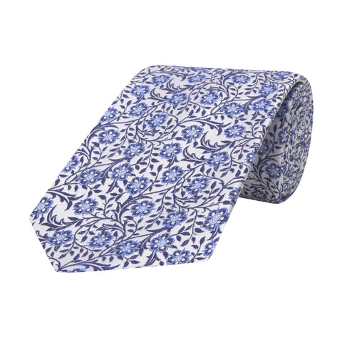 White Climbing Floral Jacquard Woven Silk Tie