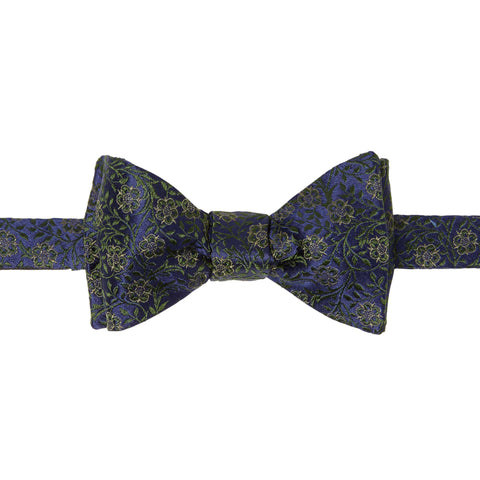 Navy Floral Jacquard Woven Silk Bow Tie