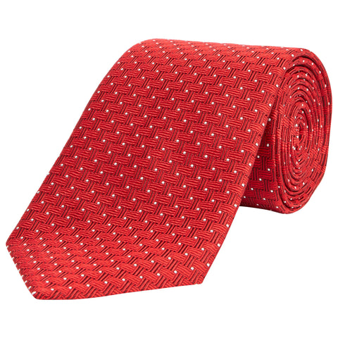 Red Chainlink Woven Silk Tie