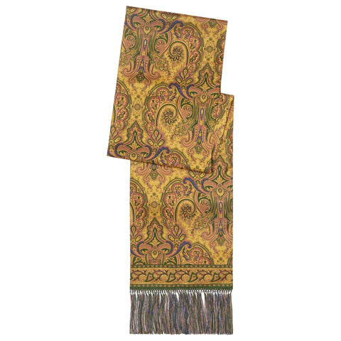 Yellow Paisley Print Silk Madder Scarf