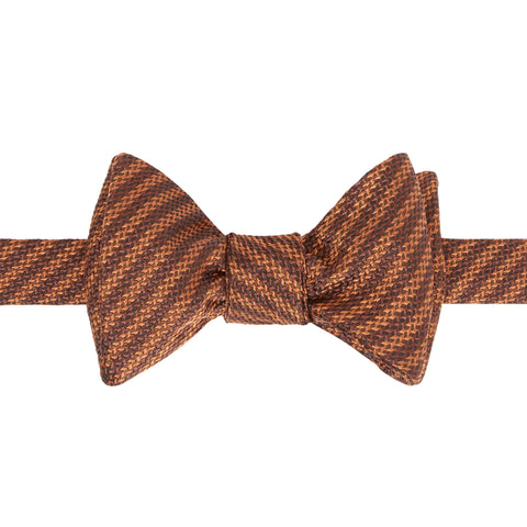 Orange Textured Pinstripe Bow Tie