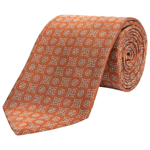 Orange Geo Floral Tile Woven Silk Tie