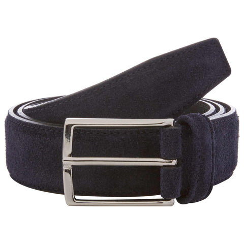 Navy Suede Leather Belt with Silver Buckle