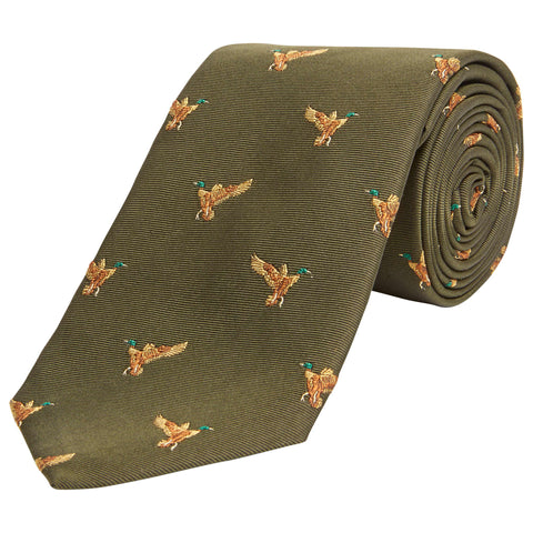 Green Flying Duck Woven Silk Tie
