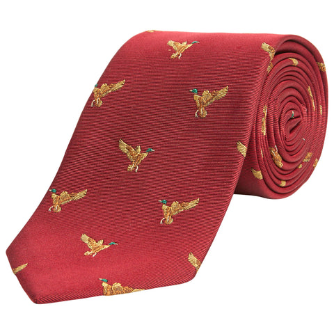 Red Flying Duck Woven Silk Tie