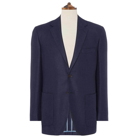 Navy Bletchley Silk, Linen and Wool Jacket