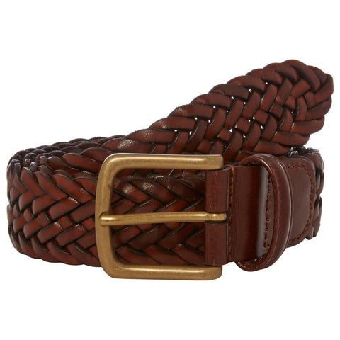 Tan Plaited Leather Belt with Brass Buckle
