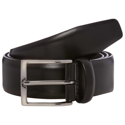 Black Hard Leather Belt with Silver Buckle