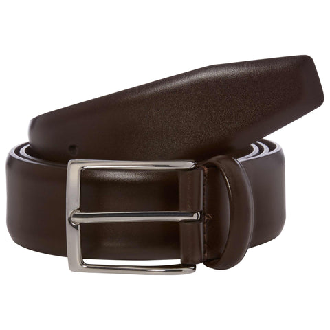 Brown Hard Leather Belt with Silver Buckle