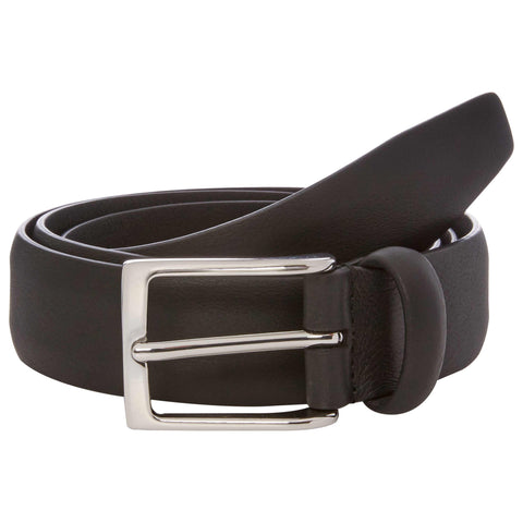 Black Nappa Leather Belt with Silver Buckle