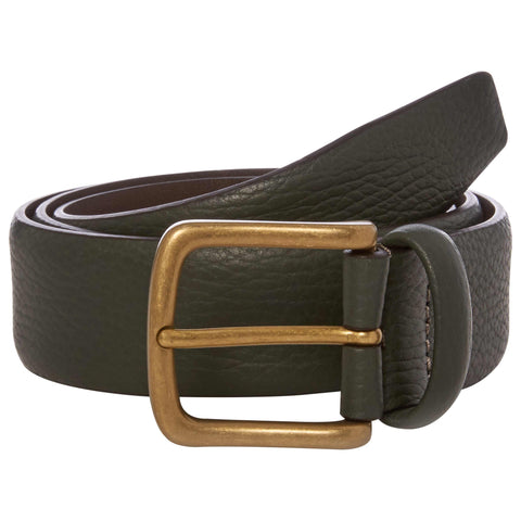 Green Grain Leather Belt with Brass Buckle