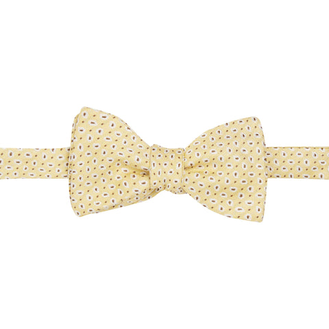Yellow Foulard Micro Teardrop Silk Bow Tie