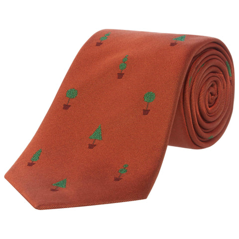 Orange Topiary Plant Silk Tie