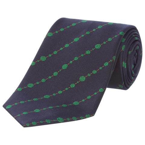 Navy Topiary Silk Tie