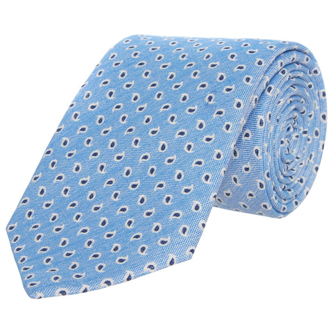 Blue Foulard Teardrop Cotton and Silk Tie