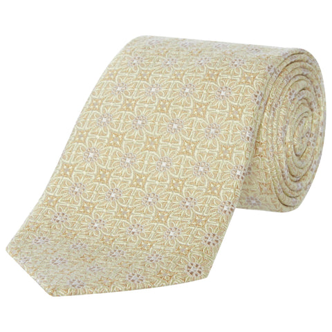 Yellow Geometric Flower Silk Tie