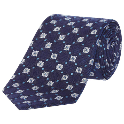 Navy Geometric diamond Floral Silk Tie