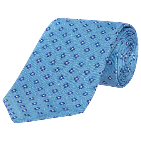 Blue Foulard Flower Silk Tie