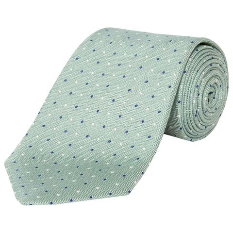 Light Green Spot Herringbone Silk Tie