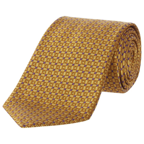 Yellow Geometric Tile Silk Tie