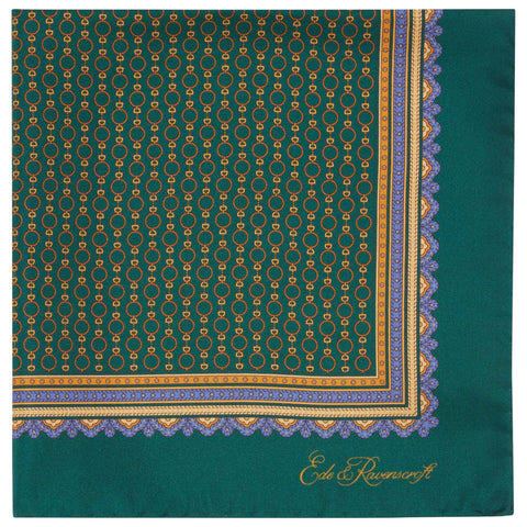 Green Geometric chainlink Printed Silk Pocket Square