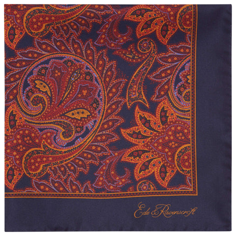 Navy Paisley Printed Silk Pocket Square