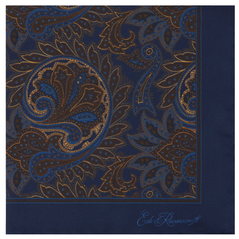 Blue Traditional Paisley Silk Pocket Square