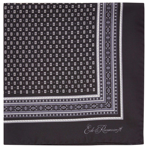 Black Flower Pindot Printed Silk Pocket Square