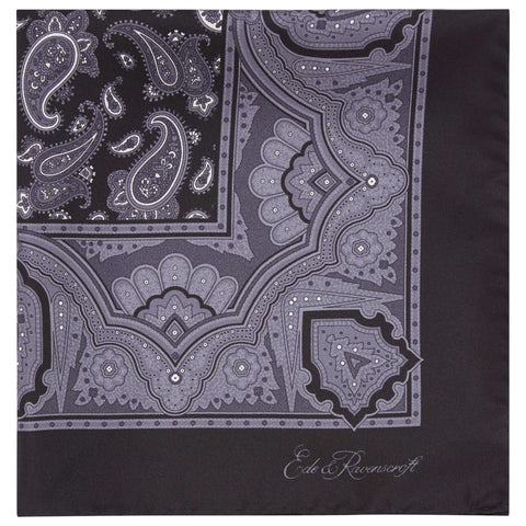 Black Paisley Printed Silk Pocket Square