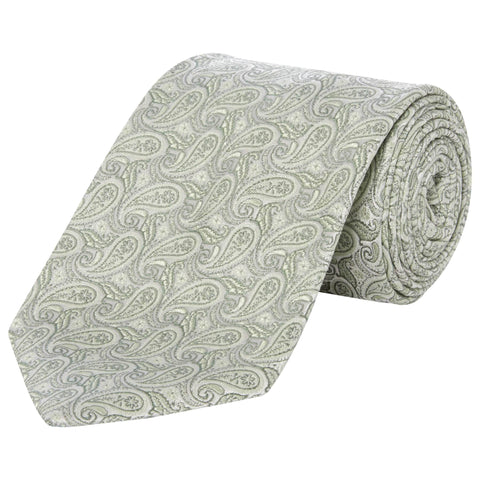 Light Green Paisley Teardrop Tie