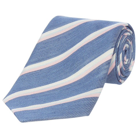 Blue Striped Twill Silk and Linen Tie