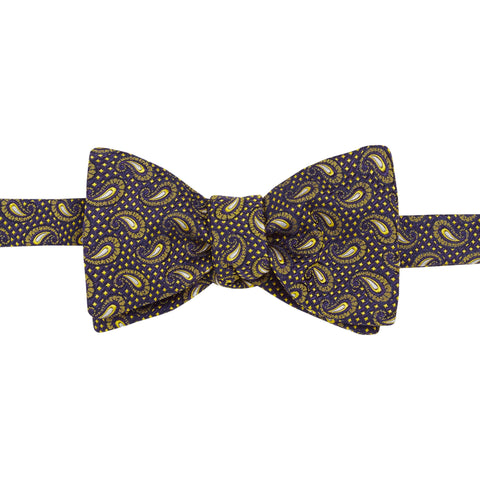 Navy Paisley Micro Diamond Bow Tie