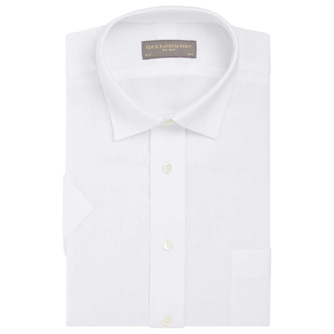 White Adam Linen Short Sleeved Shirt